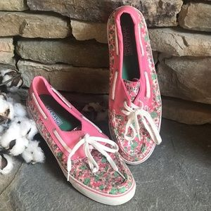sperry top-sider pink green white sequined sz 10